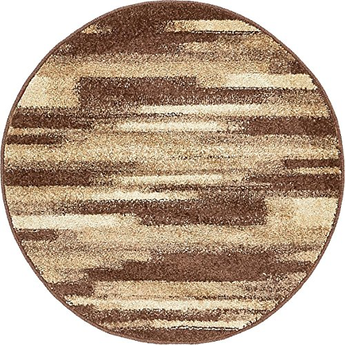 Unique Loom Autumn Collection Gradient Casual Warm Toned Brown Round Rug (3' x 3')