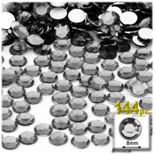 The Crafts Outlet 144-Piece Flat Back Acrylic Round Rhinestones, 8mm, Charcoal Gray