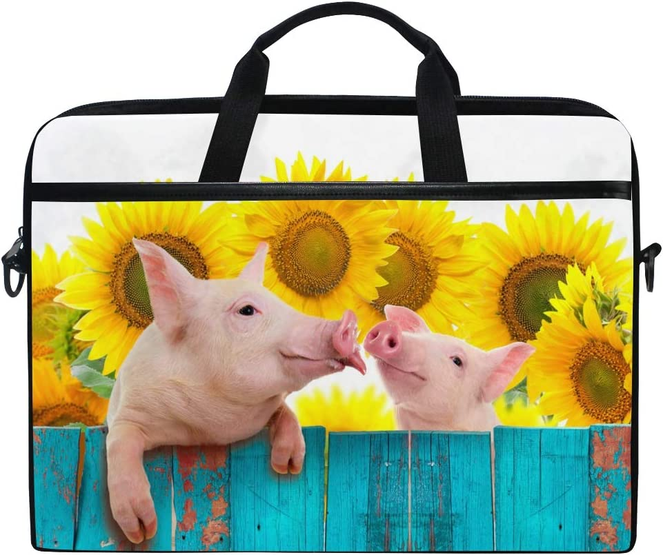 Farm Anilmals Silhouette Chicken Pig Cow Laptop Shoulder Messenger Bag 14 Inch Notebook Sleeve Carrying Case with Trolley Belt for Lenovo Acer Asus Dell Lenovo Hp Samsung Ultrabook Chromebook
