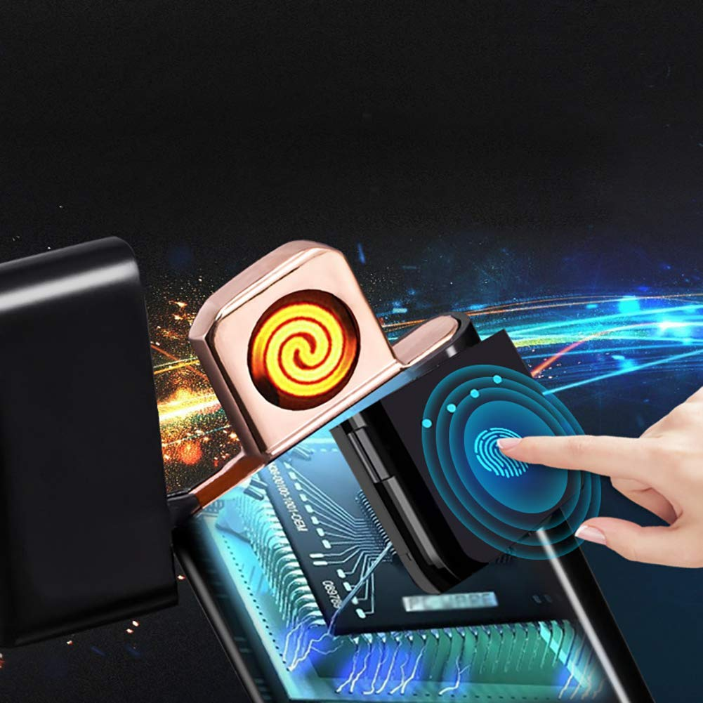 con Indicador de Bater/ía a Prueba de Viento sin Llama Siiruc Eeco Encendedor Electrico Pantalla T/áctil Mechero USB Mechero Electric a Prueba de Fuego