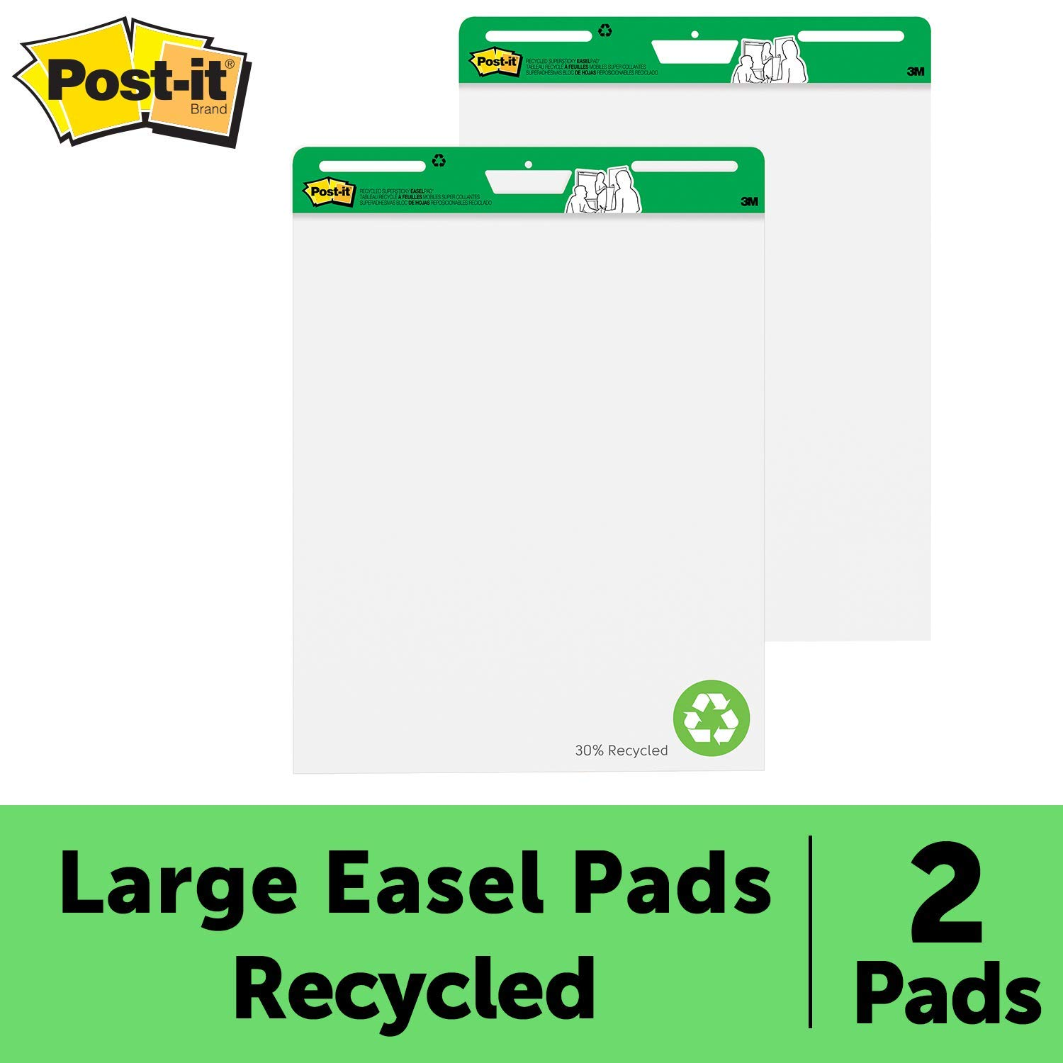 Post-it Super Sticky Easel Pad, 25 x 30 Inches, 30 Sheets/Pad, 2 Pads (559RP), Large White Recycled Premium Self Stick Flip Chart Paper, Super Sticking Power by Post-it