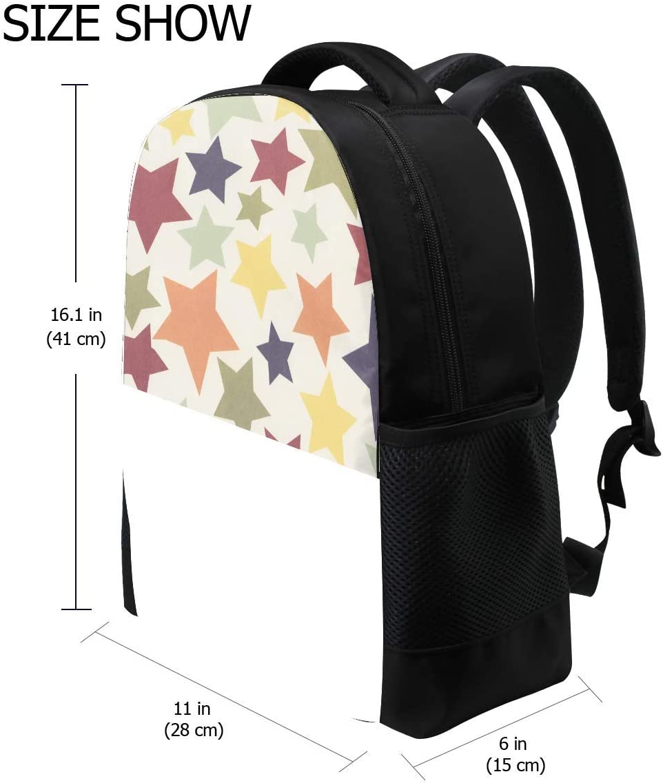 Star Colorful Surface Bookbag School Backpack Luggage Travel Sport Bag