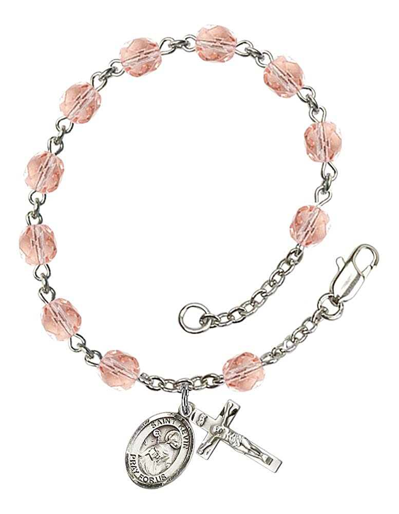 Patron Saint Blackbirds//Ireland The Charm Features a St Kevin Medal Silver Plate Rosary Bracelet Features 6mm Pink Fire Polished Beads The Crucifix Measures 5//8 x 1//4
