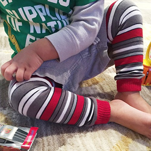 Wrapables Colorful Baby Leg Warmers, Stripes Red and Gray by Wrapables (Image #3)
