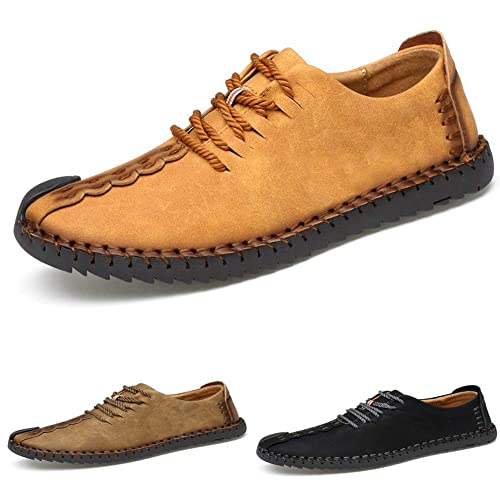 b9beec18be9 ZIITOP Suede Casual Shoes Men s British Style Handmade Leather Oxford Shoes  Flats Lace-up Loafers