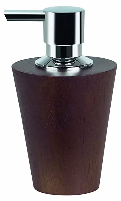 Spirella Max Wood.Spirella Max Light Walnut Soap Dispenser Wood Dark Brown Height 14 5 Cm X Width 8 5 Cm