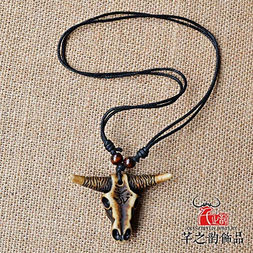 (men yak bone carving necklace pendant chain ward off evil imitation bull horn souvenirs (retro brown)