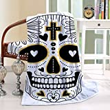 HAIXIA Throw Blanket Day Of The Dead Dia de Los Muertos Spanish Mexican Festive Hippie Black White and Yellow