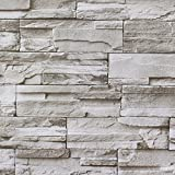 HaokHome 13991 Faux Stacked Stone Peel and Stick Wallpaper Lt.Grey Brick Self Adhesive Contact Paper