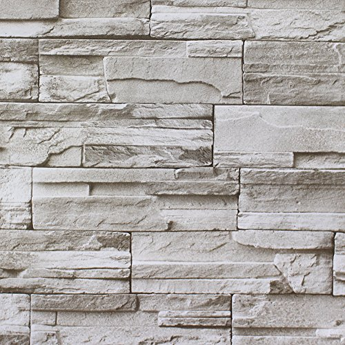 Haokhome haokhome 13991 faux stacked stone peel and stick for Cheap stick on wallpaper