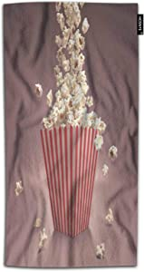 HOSNYE Popcorn Hand Towel for Bathroom Dropping Popcorn in Red and White Striped Classic Package Absorbent Soft Towels for Beach Kitchen Spa Gym Yoga Face Towel