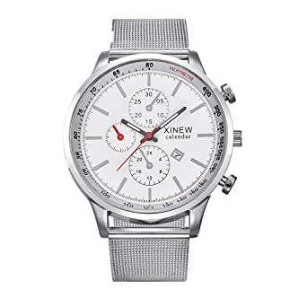 f9b3b4841b7 DOLDOA Sale Clearance for Mens Quartz Wrist Watch Date Gunmetal Stainless  Steel Strap Business Watches (Silver)  Amazon.co.uk  Watches