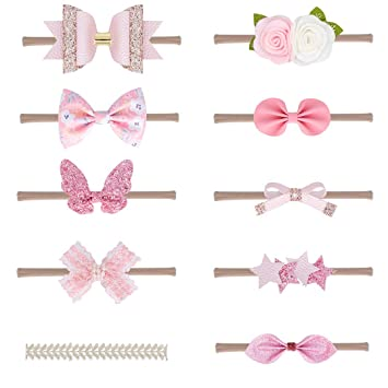 Xiaoyu 10PCS Baby Girls Headbands and Bows Newborn Infant Toddler Hair Accessories Champagne