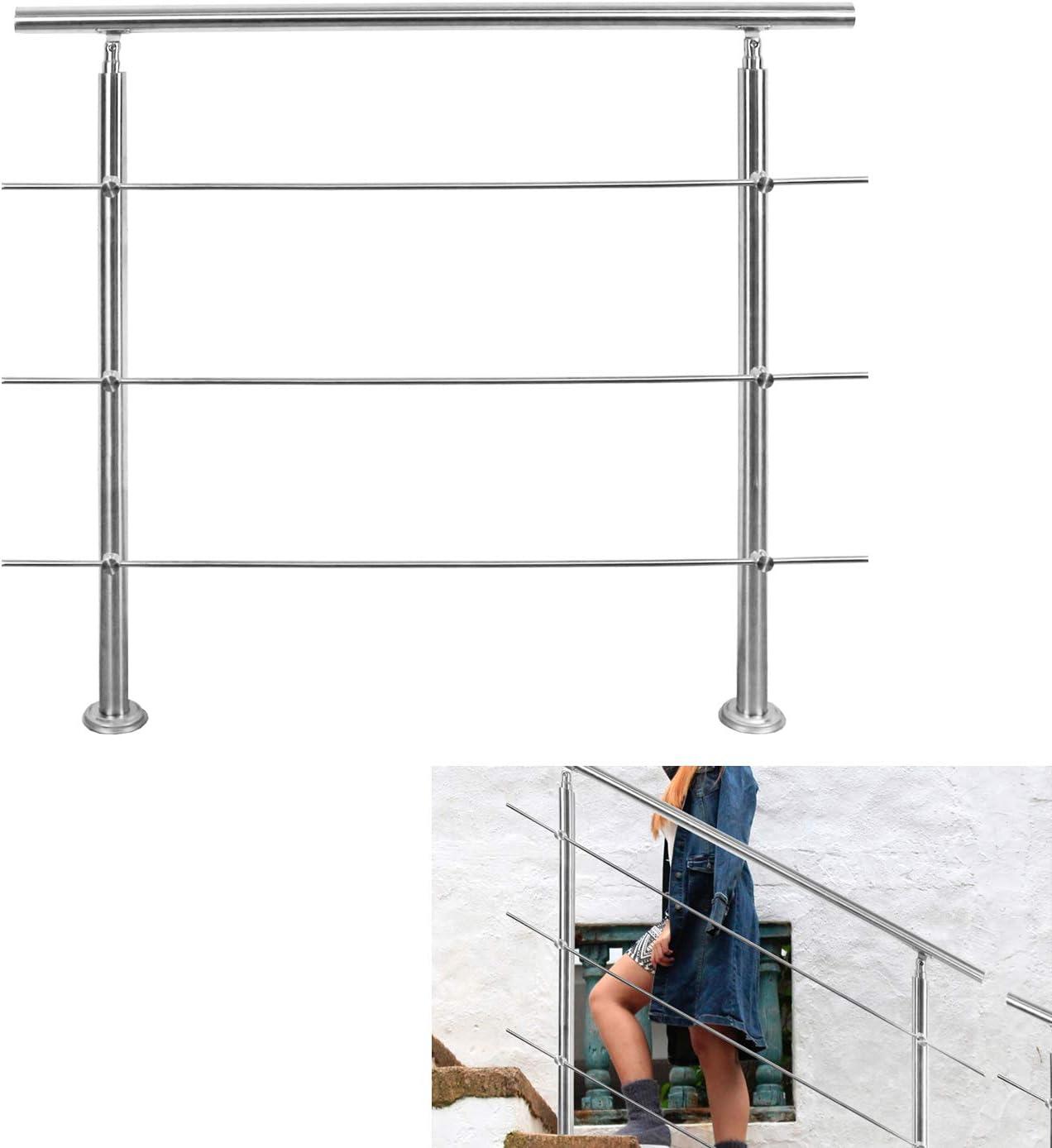 wolketon Treppengel/änder Edelstahl 2 Querst/äbe 80cm Br/üstung Handlauf Gel/änder Treppe