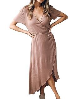 WOZNLOYE Sommer Damen Irregulär Lange Kleid Mode Einfarbig Maxikleider  Blusenkleider Strandkleider Sexy V Neck Kurzarm Kleider 73e62d886f