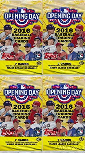 2016-topps-opening-day-mlb-baseball-lot-of-four4-factory-sealed-hobby-packs-with-28-cards-includes-1