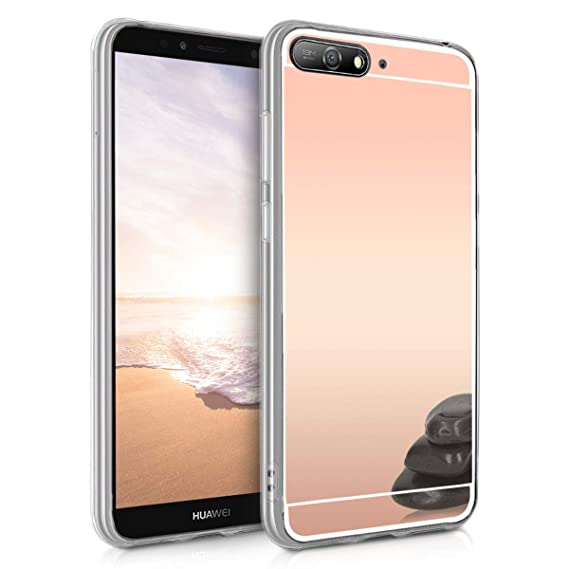 size 40 7118e 8baf9 kwmobile Mirror Case for Huawei Y6 (2018) - TPU Silicone Bumper Protective  Cover Reflective Back Case - Rose Gold