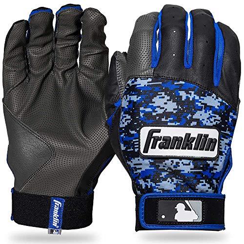 Royals Mlb Leather - Franklin Sports MLB Digitek Baseball Batting Gloves - Gray/Black/Royal Digi - Youth Small