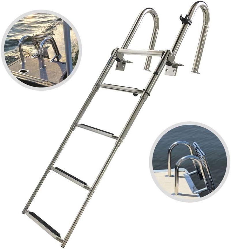 Escaleras para Barcos Escalera de Baño para Barco de Acero Inoxidable, Escalera de Embarque de Pontón Plegable de 4 Pasos, Plataforma de Baño de Acero Inoxidable Escalera Telescópica para Yate Marino: Amazon.es:
