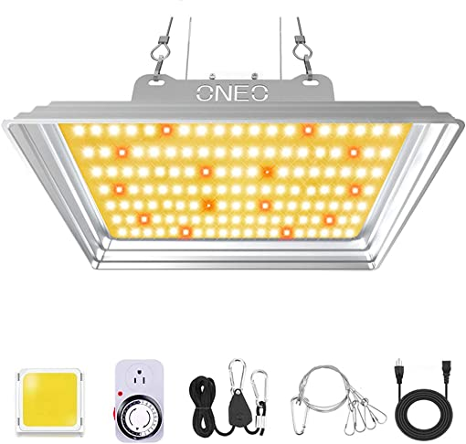 LED Grow Light 1000W Full Spectrum 3500K White 660nm Red and IR Grow Lights for Indoor Plants with Timer and Protective Glassess for Indoor Hydroponic Greenhouse Gardening Veg and Flower