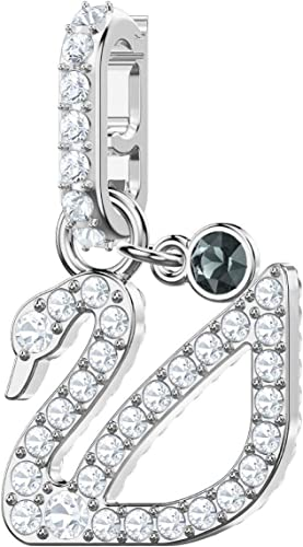 SWAROVSKI Crystal Authentic Remix Collection Rhodium Plated Swan Charm,  White - Lovely Clip On Bracelet Accessory