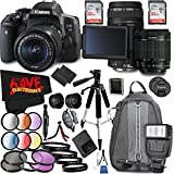 Canon EOS Rebel T6i DSLR Camera with 18-55mm Lens International Version (No Warranty) + Canon EF 75-300mm f/4-5.6 III USM Lens + 2 SanDisk 32GB Class 10 Ultra SDHC UHS-I Memory Cards Accessory Bundle