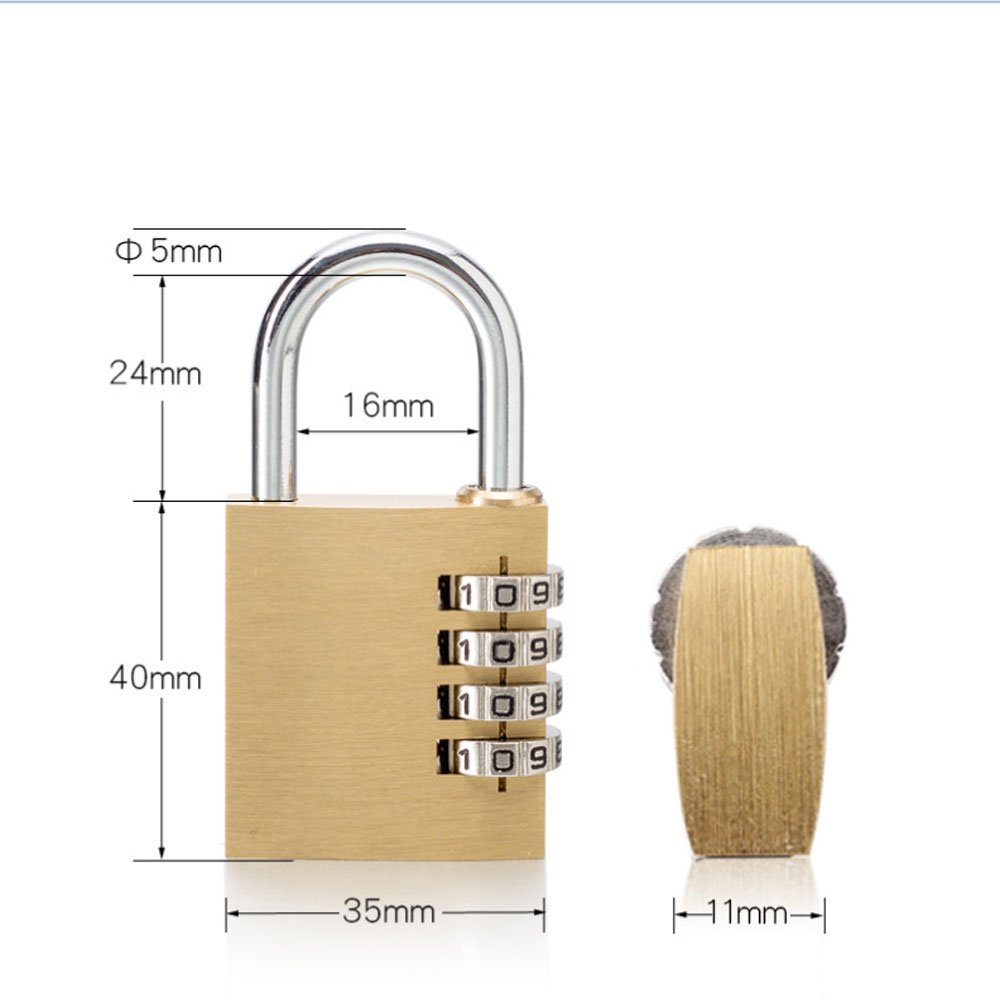 Solid Brass Lock Luggage Trolley Backpack Padlock Sports Bag Briefcase Computer Bag Jewelry /& Antique Box