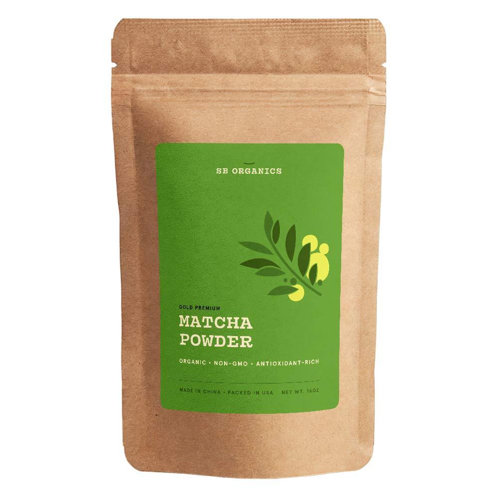 SB Organics Matcha Green Tea Gold Premium Powder - USDA Organic Non-GMO Classic Standard Culinary Ground Powder for Baking, Smoothies, Coffee, Tea - 16 oz