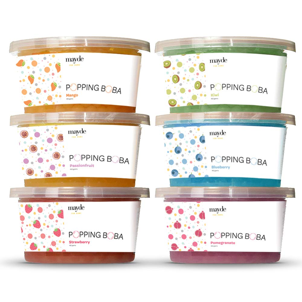 Mayde Bursting Popping Boba Pearls, Strawberry, Mango, Passion Fruit, Kiwi, Blueberry, Pomegranate - 6 Flavor Party Kit (490 gms, 6 pack)