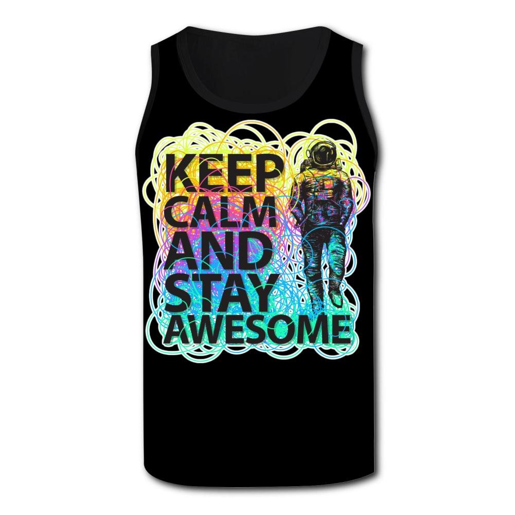 ZALOA Keep Calm and Stay Awesome,Movement Tank Tops for Men