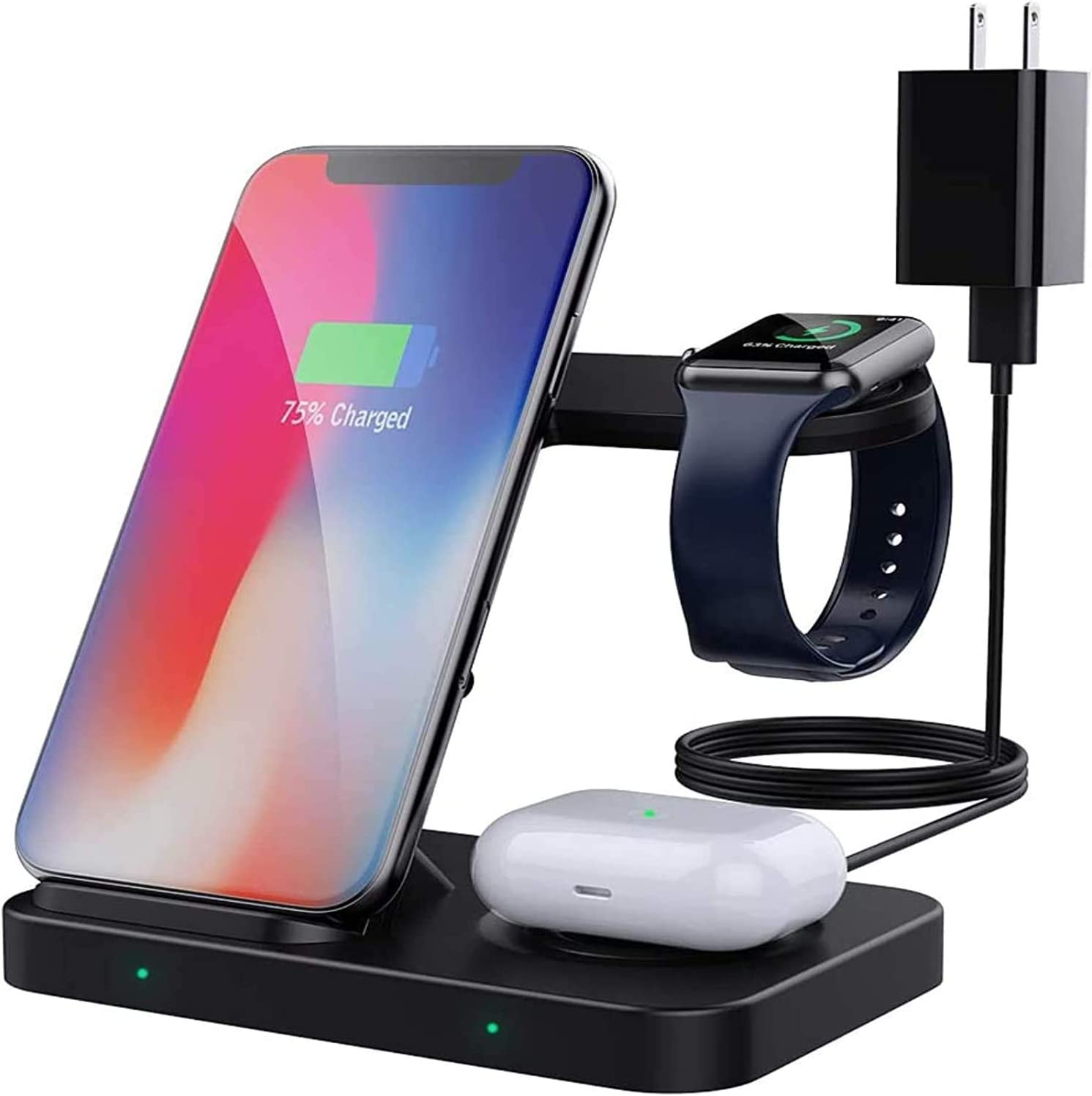 MoKo 3 in 1 Wireless Charger Stand, Qi 10W Dual Fast Charging Dock Station Compatible iPhone 12/12 Pro Max/12 Mini/SE 2020/11/XR/Apple Watch Series SE/6/5/4/3/2/Airpods Pro/2 (with QC3.0 Adapter)
