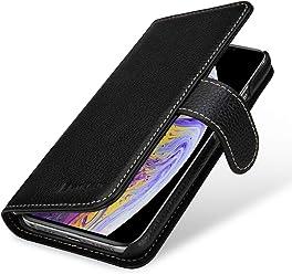 StilGut Talis Case con Tasca per Carte, Custodia in Pelle Cover per Apple iPhone XS. Chiusura a Libro Flip-Case in Vera Pelle Fatta a Mano, pratiche Tasche per Carte di Credito, Nero