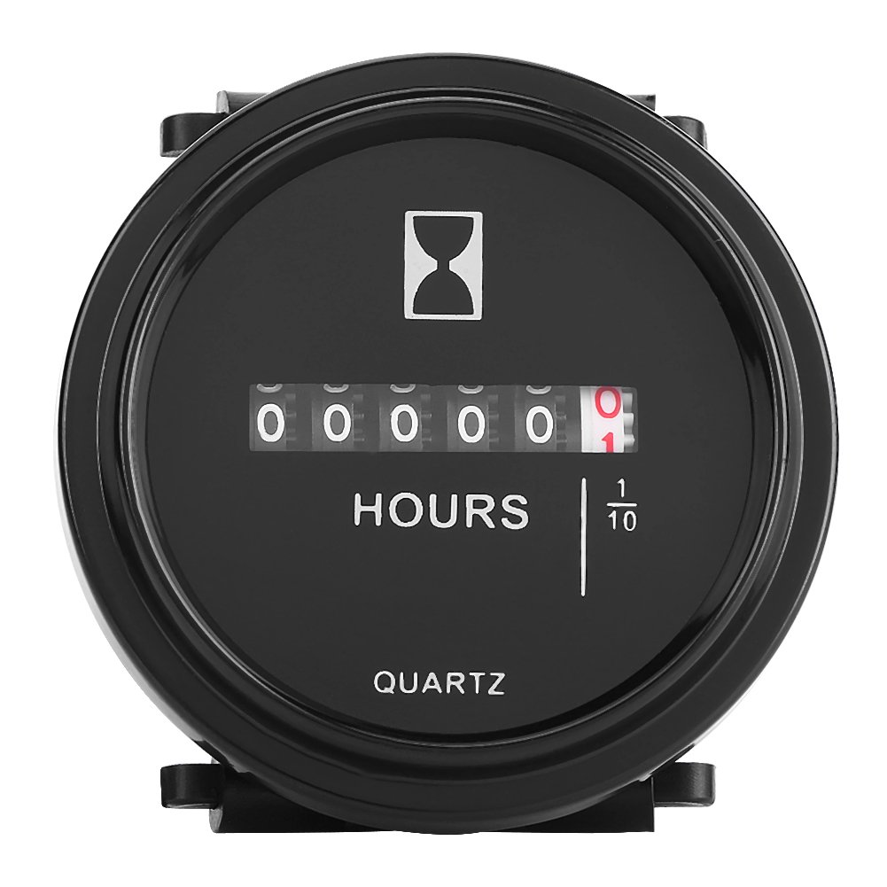 Qiilu DC 10-80V Round Mechanical Hour Meter Gauge Timer Hourmeter for Car Truck Boat Engine