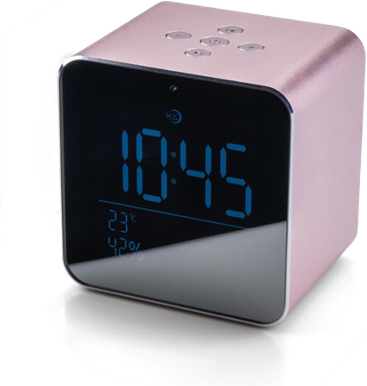 Daewoo DBT-305PK Altavoz Bluetooth con Reloj - Color Rosa Metalizado, Pequeno