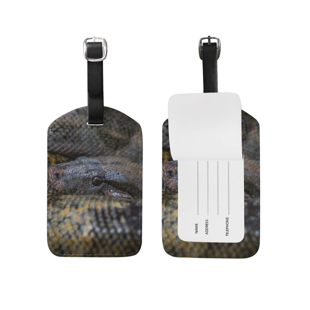 810222f343a Amazon.com | MUOOUM Reptile Anaconda Snake Luggage Tages Travel Labels  Suitcase Bag Tag with Name Address Cards 2 Pcs Set | Luggage Tags