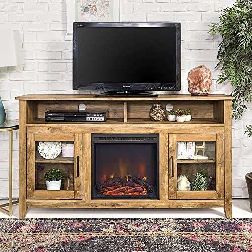 Home Accent Furnishings Tucker 58 Inch Barn Door Fireplace Television Stand in White Oak