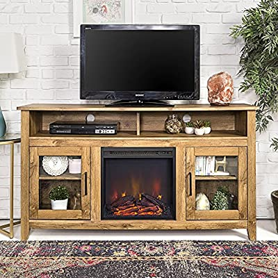 New 58 Inch Wide Highboy Fireplace Television Stand in Barnwood Finish - Featuring tempered safety glass cabinet door fronts High-grade MDF and laminate construction Includes electric fireplace insert, no electrician required, simple plug-in unit - tv-stands, living-room-furniture, living-room - 61AKvZDvhOL. SS400  -