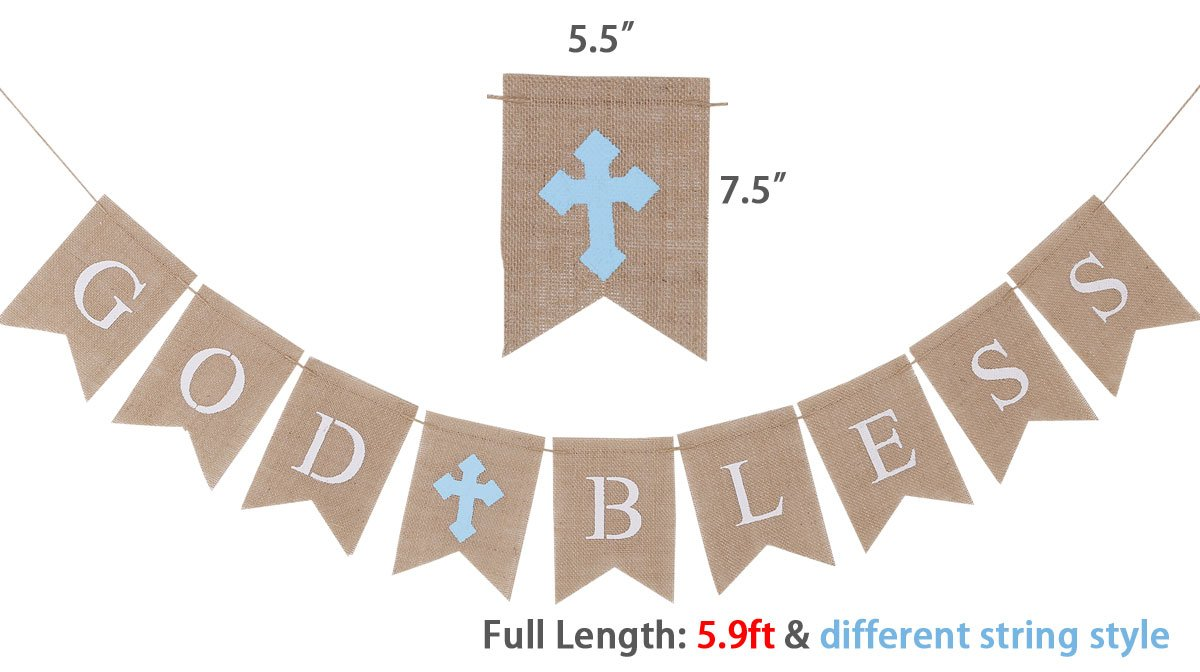 Burlap Communion Party Banner, Baptisim Christening Decoration God Bless Banner, Swallow-Tailed DIY Decoration for Wedding, Baby Shower Party - (LakeBlue-Rope Through)