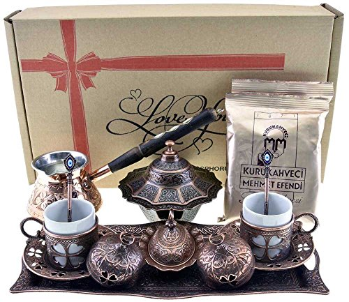 """BOSPHORUS"" 16 Pieces Turkish Greek Arabic Coffee Making Serving Gift Set with Copper Pot Coffee Maker, Cups Saucers, Tray, Sugar Bowl & 6.6 Oz Coff"