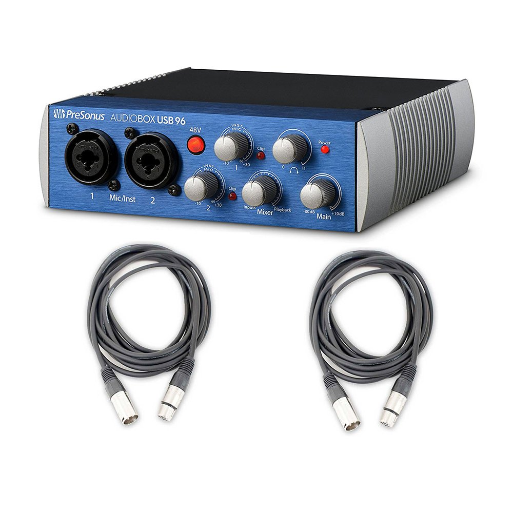 Presonus AudioBox USB 96 Recording Podcast interface and 2 AxcessAbles Cables