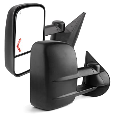 YITAMOTOR Towing Mirrors Compatible with Chevrolet GMC Cadillac Silverado Sierra 07-13 Power Heated Telescoping with LED Arrow Signal Light: Automotive