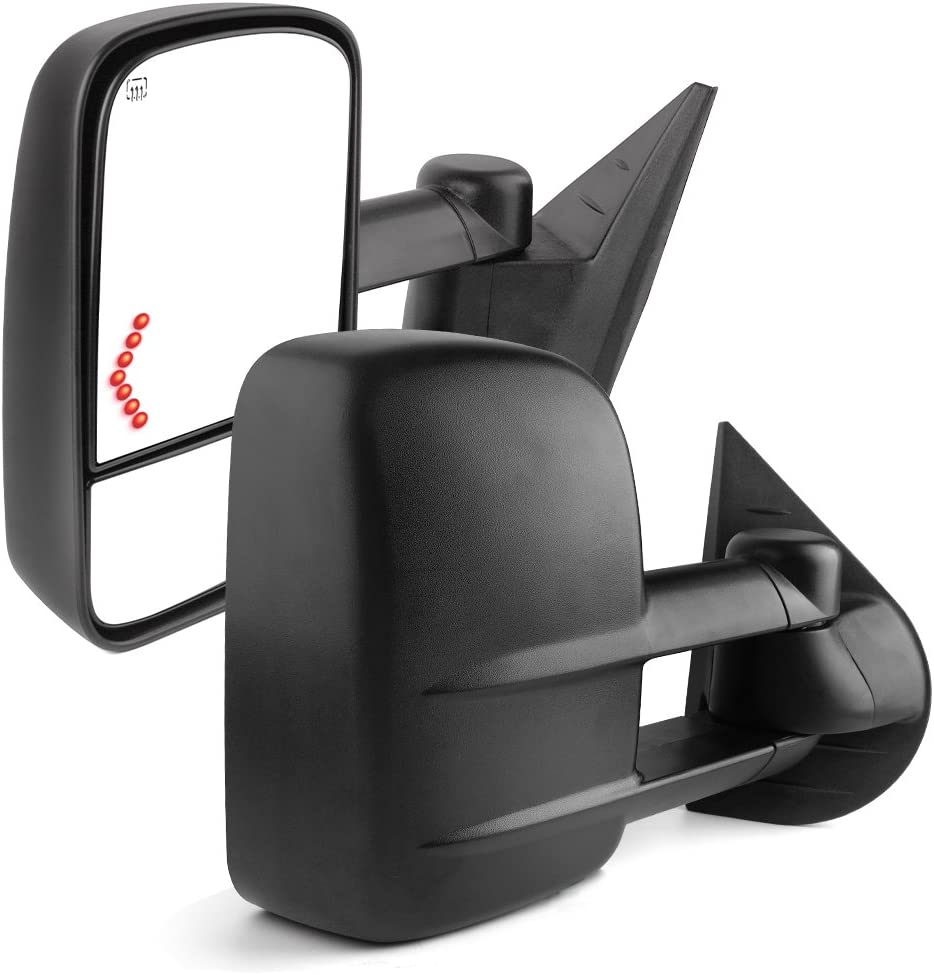 AUTOSAVER88 Towing Mirrors Compatible with 2003-2007 Chevy Silverado GMC Sierra 1500 2500 HD 3500 Power Heated Side View Tow Mirrors for Tahoe Suburban Avalanche Yukon with Arrow Turn Signal Light