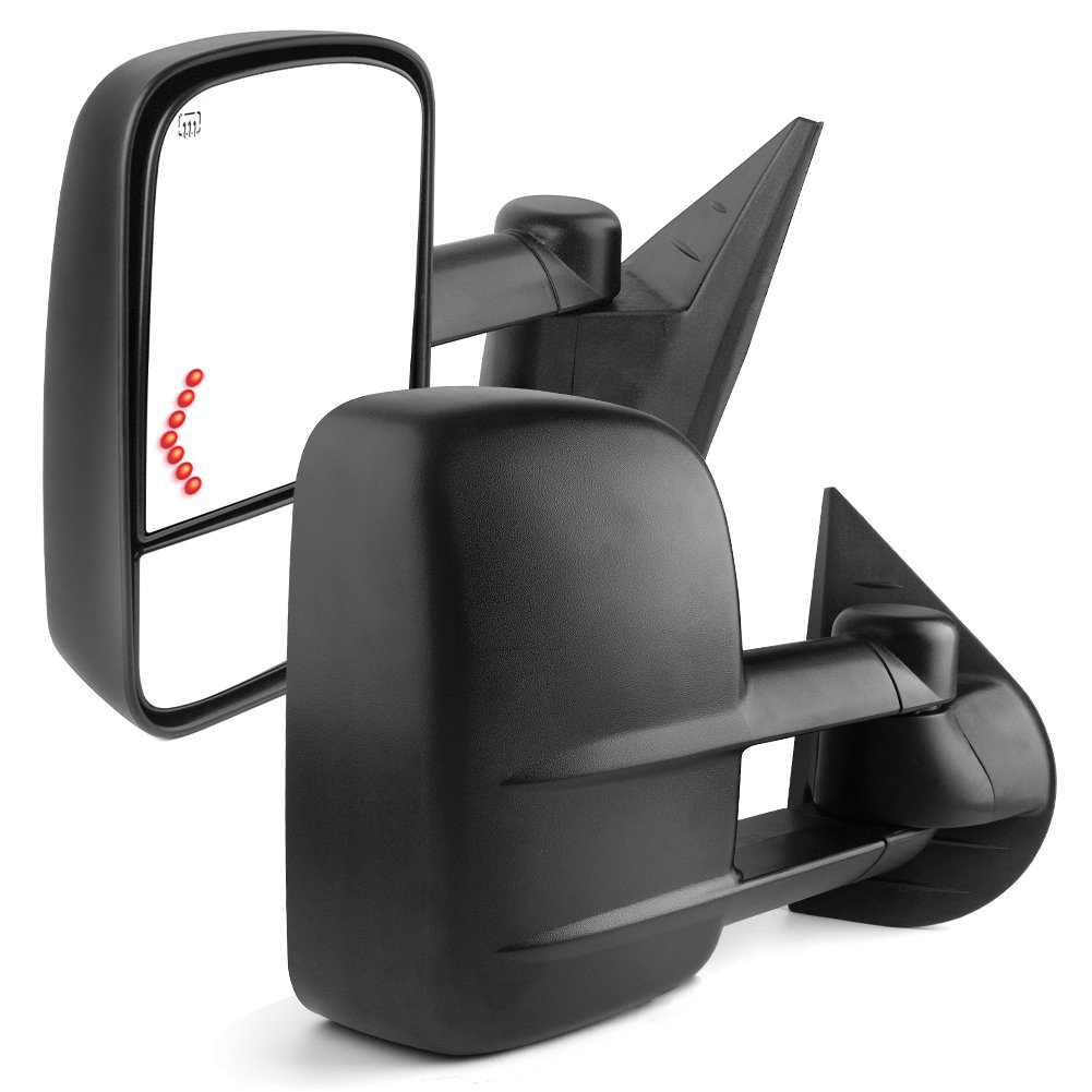 Towing Mirrors for 07-13 Chevrolet/GMC/Cadillac Silverado/Sierra Pair Set Power Tow Heated Telescoping with LED Arrow Signal Light Side Mirrors (just 07 NEW Body) by YITAMOTOR