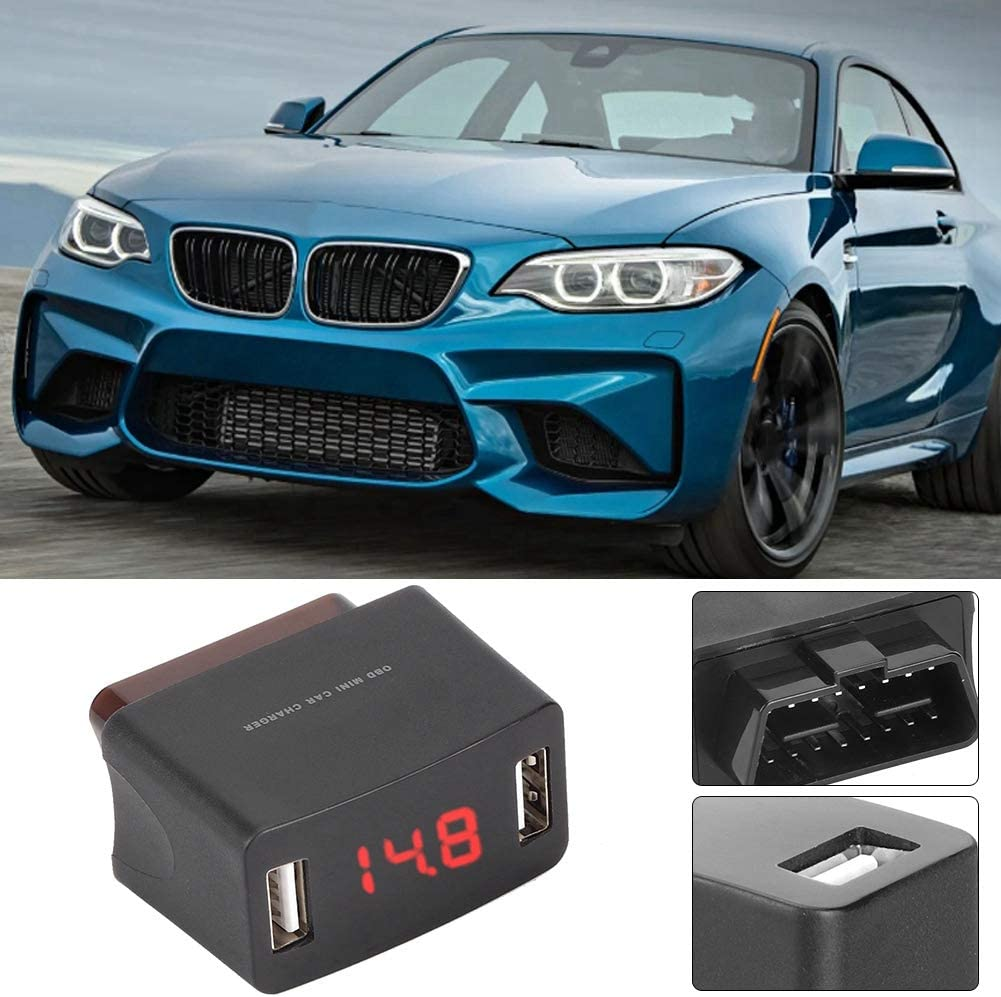 Durable ABS OBD MINI Dual USB Charger Socket with Voltage Display OBD Car Charger
