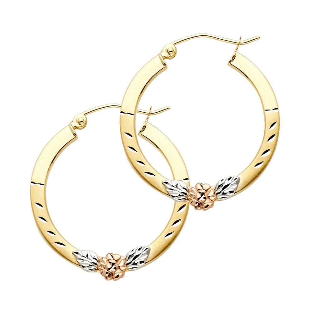 23mm Diameter 14k Tri Color Gold Fancy Flower Hoop Earrings