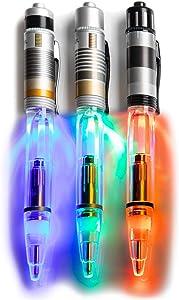 Star Wars Light-Up Lightsaber Refillable Ink Pens 3 PC Set - Darth Vader, Skywalker, and Obi-Wan