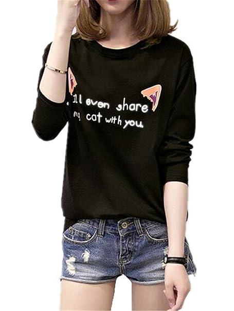 AILIENT Mujeres Universidad Camisetas De Manga Larga Blusas Letras Impresas Cuello Redondo T Shirt Outwear Camisas