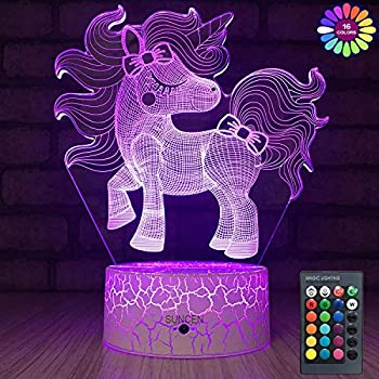 SUNCEN Unicorn Lamp Unicorn Night Light for Kids with Remote Touch 7 Colors + 16 Colors Changing Kids Room Decor 3D Optical Illusion Kids Lamp As a Gift Ideas for Kids Girls Wife Women(Cute Unicorn)