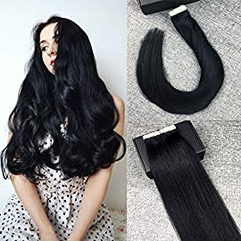 Tape In Human Hair Extensions Real Remy Hair Extensions Invisible Double Sided Straight Skin Weft Tape Hair Extensions…