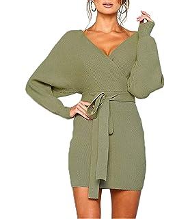 447b93f5c67 Mansy Women s Sexy Cocktail Batwing Long Sleeve Backless Mock Wrap Knit Sweater  Mini Dress